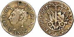 World Coins - HAITI, République d'Haïti (Western). Alexandre Petion as President (1806-1818) AR 12 Centimes AN14 (1817). VF