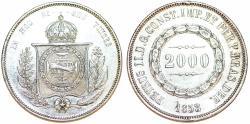 World Coins - Brazil. Pedro II (1831-1889). AR 2000 Reis 1853. Choice XF, cleaned