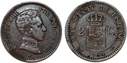 World Coins - Spain. Kingdom. Alfonso XIII. Bronze 2 centavos 1905. Choice XF