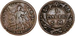 """World Coins - SWEDEN. Carl XII, 1697-1718. Emergency Coinage. AR Daler 1718 """"Quick and Complete"""" aVF"""