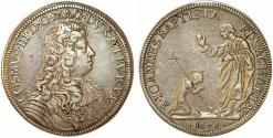 World Coins - ITALY. Cosimo III de' Medici Grand Duke of Toscana (1670-1723). AR Mezzo Piastra 1676. Choice VF