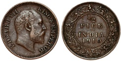 World Coins - British India. Edward VII. CU 1/2 Pice 1910 C. Choice VF