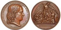 World Coins - France. Louis-Philippe I. Cu Medal (52mm) dedicated to J. D. Larrey. Mater Surgeon of the Grande Armée 1847. AU