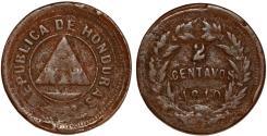 World Coins - Honduras. Republic. AE 2 Centavos 1910/810. Fine+