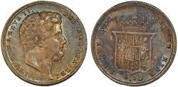 World Coins - Italy. Naples & Sicily. Francesco II (1830-1859). AR 20 Grana 1854. Toned AU