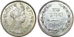 World Coins - India. Baroda: Sayaji Rao III (1875-1938) AR rupee SH1954 (1897 AD). AU details