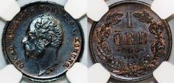 World Coins - Sweden. Carl XV Adolf. AE 1 Ore 1857. NGC MS64 BN!