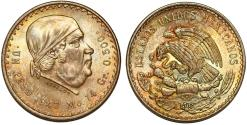 World Coins - Mexico. Republic. AR 1 Peso 1947. Beautifly toned Choice  BU