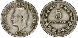 World Coins - El Salvador. CU-NI 5 Centavos 1925. VF
