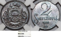 World Coins - Latvia (ex Livonia). Republic (1918-1940). AE 2 Santimi 1932. NGC MS63 BN
