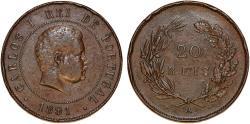 World Coins - Portugal. Carlos I. AE 20 Reis 1891. Good VF