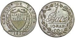 World Coins - Swiss Cantons. Vaud. AR 1 Batzen 1818. Nice AU