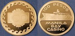 World Coins - Philippines. Manila. Commemorative Casino Token of 100 Pesos from Bay Casino. Proof!