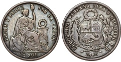 World Coins - Peru. Republic. AR 1/2 Sol 1865/55 Y.B. Choice VF