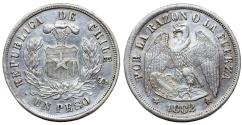 World Coins - Chile. Republic. AR 1 Peso 1882. XF