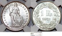 World Coins - Switzerland. Federation. AR 1 Franc 1921 B. NGC MS63