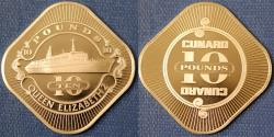 World Coins - Great Britain. Commemorative Casino Token of 10 Pounds from Queen Elizabeth Passenger ship. Proof!
