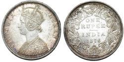 World Coins - British India. Victoria (1840-1901) Silver Rupee 1876 C. Nice AU