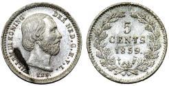 World Coins - Netherlands. king Wilhelm III (1849-1890). Silver 5 Cents 1859. UNC