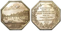 World Coins - France. Paris. Silver Jeton An. 9 (18-2) Association for building three iron bridges over the Seine. Choice AU