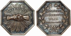 World Coins - France Compagnie Du Soleil. Octagonal Silver Jeton 1829. AU+