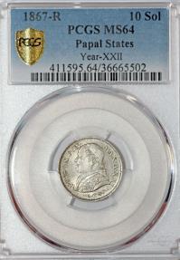 World Coins - Italy. Vatican. Pope Pius IX (1846-1878). Silver 10 Soldi 1867 R. PCGS MS64