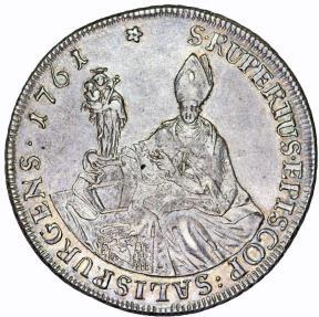 World Coins - Salzburg. Sigismund III. Graf von Schrattenbach (1753-1771). AR Thaler 1761. XF
