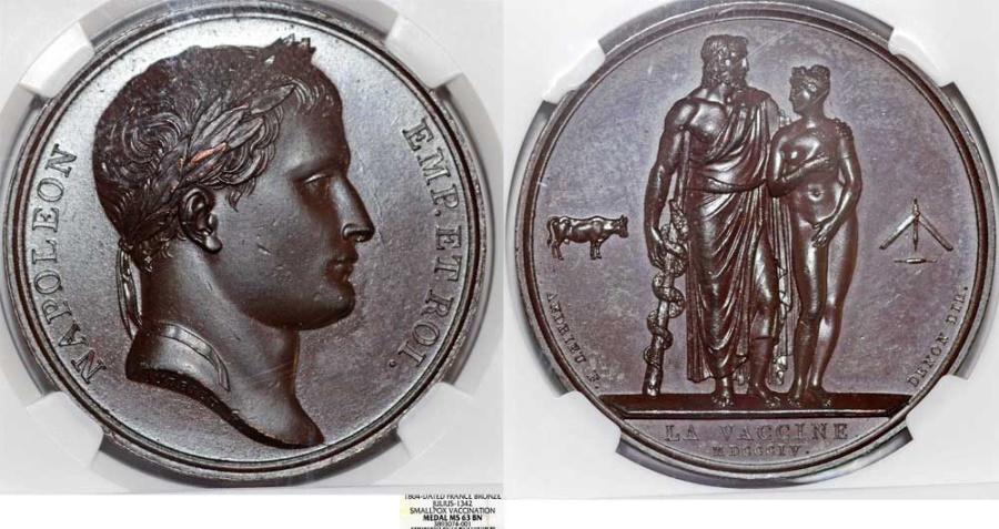 "World Coins - France. Napoleon Bonaparte. AE Medal 1804. "" Smallpox Vaccination"". NGC MS63 BN."