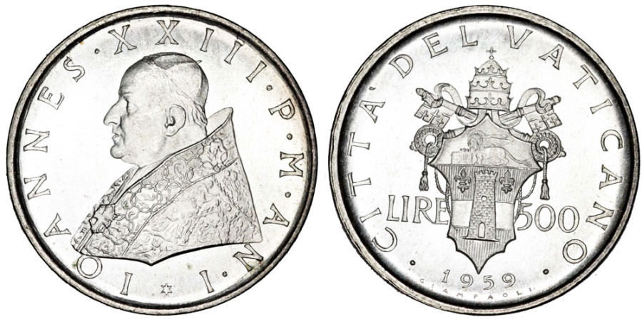 World Coins - Vatican City. AR 500 Lire 1959. BU