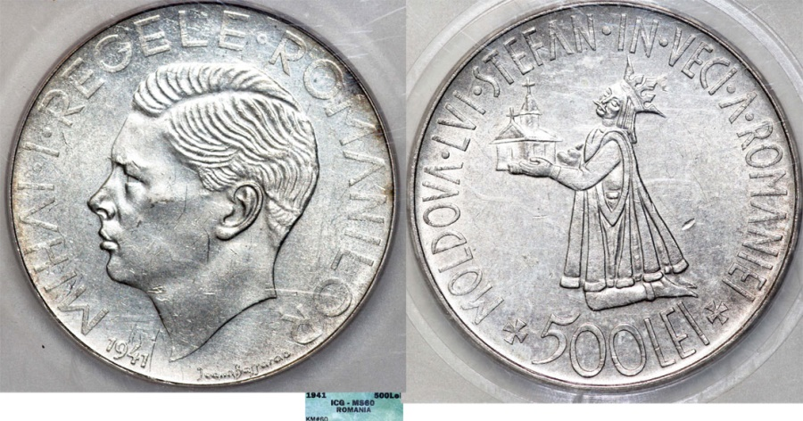 World Coins - Romania. WWII Period. king Mihai I. AR 500 Lei 1941. NGC MS60
