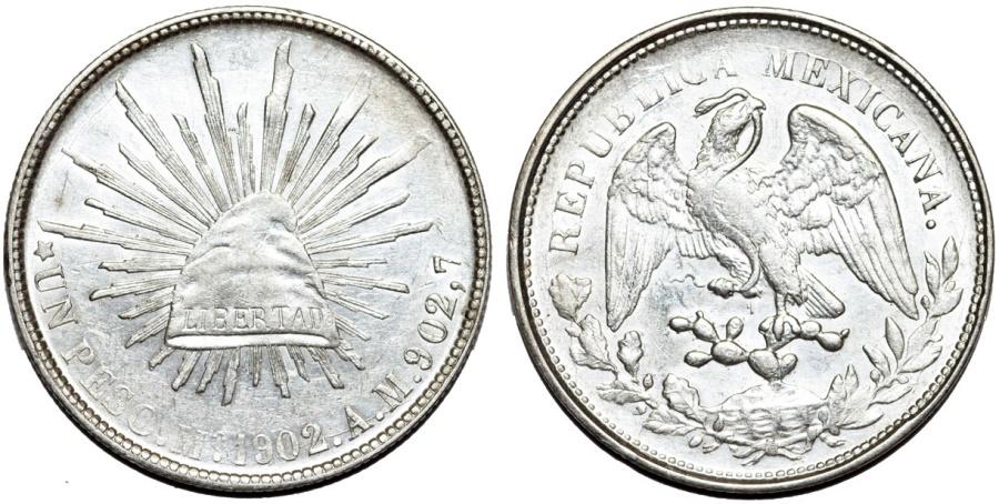 World Coins - Mexico. Republic. AR Peso 1902 Mo AM. CHOICE AU