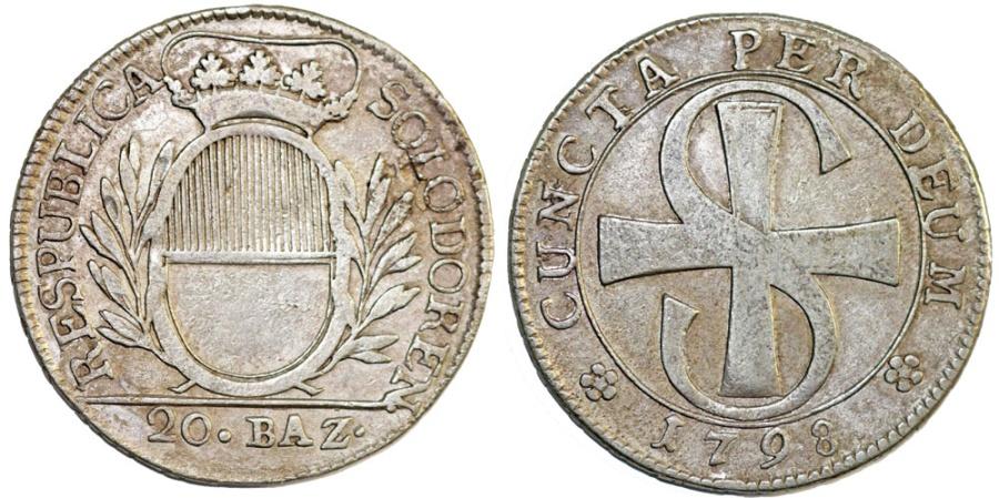 World Coins - Swiss Cantons. Solothurn. AR 20 Batz 1798. XF.