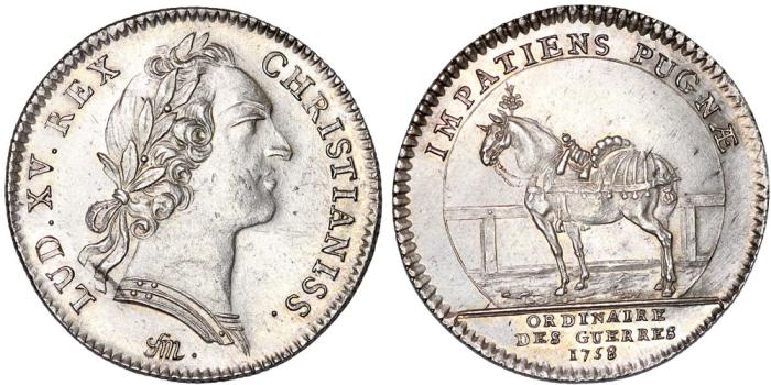 "World Coins - France. King Luis XV ""The Well-Beloved"". (1715–1774). AR Jeton ""Ordinaire des Guerres"" 1758. AU"