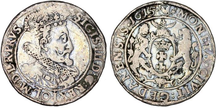 World Coins - Poland. City of Danzig. Sigismund III (1587-1632). Silver 1/4 Taler 1615. aVF. Scarce