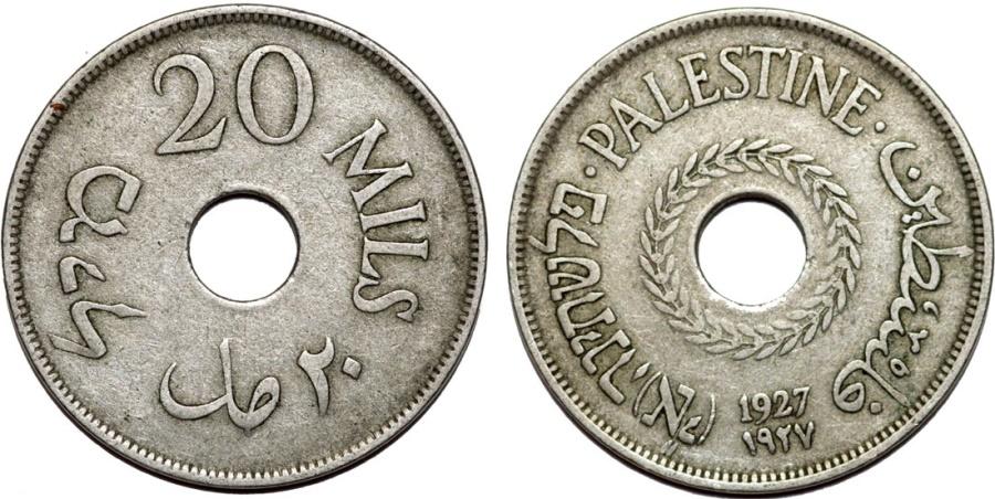 World Coins - British Administration. Palestine. CuNi 20 Mils 1927. VF+, better date