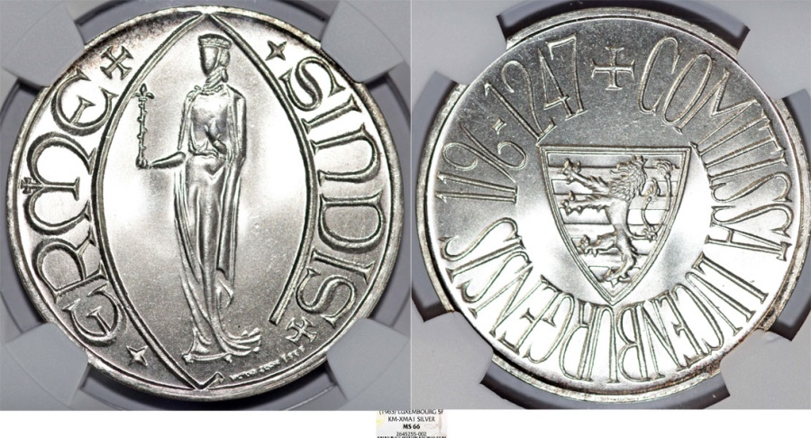 World Coins - Luxembourg. Charlotte (1919-1964). AR Medallic 5 Francs 1963. NGC MS66, Beauty!