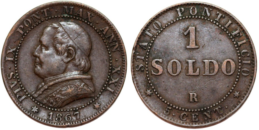World Coins - Italy. Papal State. Pope Pius IX (1846-1878). Cu Soldo 1867R (year XXI). Choice XF.