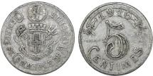 World Coins - France. Marseille. Emergency Series Token. Al 5 Cents 1916. Good VF