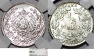 World Coins - Germany Empire. Wilhelm II (1888-1918). Silver 1/2 Mark 1915 D. NGC MS64, better mint issue