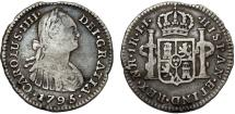 World Coins - Colombia. Spanish Colony. Charles IIII. RARE Silver 1 Real 1795 JJ. Nicely toned VF