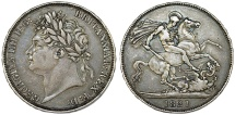"Great Britain. George IIII (1820-1830). AR Crown 1821 ""Secundo"". XF, toned"