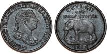 British (Sri Lanka) CEYLON. George III. AE 1/2 Stuiver 1815. VF, dark patina