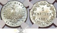 World Coins - Germany. City of Frankfurt. AR 1 Kreuzer 1847. NGC MS64, sharp.