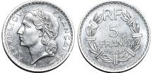 World Coins - France. Republic. Al 5 Francs 1949. Choice UNC