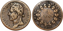World Coins - France. Colonies of Central America. Charles X. AE 5 Centimes 1825A. About VF