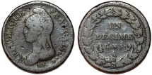World Coins - France. First Republic. AE 1 Decime 1795-1799 LN'5 A. Fine+, scarce