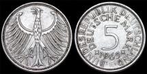 World Coins - Germany. Western Republic. Silver Trade 5 Mark 1965 D. Choice XF.