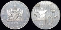 World Coins - Trinidad and Tabago. Silver 10 Dolars 1972. Proof.