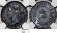 Mauritius as British Colony. Empress Victoria AE 2 Cent 1890H. NGC AU55 BN.