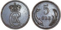 World Coins - Denmark. Christian IX (1863-1907). AE 5 Ore 1882. Choice VF, RARE DATE!